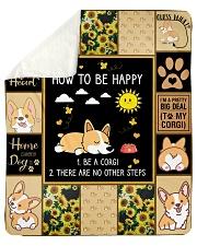 "Gift For Corgi Lovers - How To Be Happy Sherpa Fleece Blanket - 50"" x 60"" thumbnail"