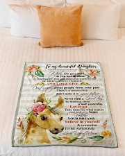 """Gift For Daughter - To My Daughter Horse Small Fleece Blanket - 30"""" x 40"""" aos-coral-fleece-blanket-30x40-lifestyle-front-04"""