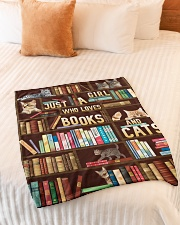 """Just A Girl Who Loves Books And Cats Small Fleece Blanket - 30"""" x 40"""" aos-coral-fleece-blanket-30x40-lifestyle-front-01"""