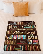 """Just A Girl Who Loves Books And Cats Small Fleece Blanket - 30"""" x 40"""" aos-coral-fleece-blanket-30x40-lifestyle-front-04"""