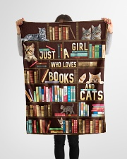 """Just A Girl Who Loves Books And Cats Small Fleece Blanket - 30"""" x 40"""" aos-coral-fleece-blanket-30x40-lifestyle-front-14"""