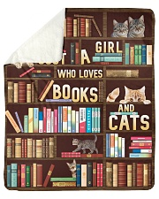 """Just A Girl Who Loves Books And Cats Sherpa Fleece Blanket - 50"""" x 60"""" thumbnail"""