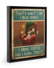 That's What I Do I Read Books - I Drink Coffee And Floating Framed Canvas Prints Black tile