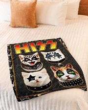 """Hizz Kiss Cat - Perfect Gift For Fans Small Fleece Blanket - 30"""" x 40"""" aos-coral-fleece-blanket-30x40-lifestyle-front-01"""