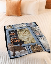 """Just A Girl Who Loves Cats - Gift For Cat Lovers Small Fleece Blanket - 30"""" x 40"""" aos-coral-fleece-blanket-30x40-lifestyle-front-01"""