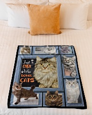 """Just A Girl Who Loves Cats - Gift For Cat Lovers Small Fleece Blanket - 30"""" x 40"""" aos-coral-fleece-blanket-30x40-lifestyle-front-04"""