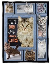 """Just A Girl Who Loves Cats - Gift For Cat Lovers Small Fleece Blanket - 30"""" x 40"""" front"""