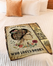 """Just A Girl Who Loves Books - Gift For Book Lovers Small Fleece Blanket - 30"""" x 40"""" aos-coral-fleece-blanket-30x40-lifestyle-front-01"""