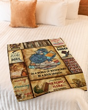 "In A World Of Bookworms Be A Book Dragon Small Fleece Blanket - 30"" x 40"" aos-coral-fleece-blanket-30x40-lifestyle-front-01"