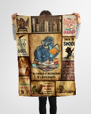"In A World Of Bookworms Be A Book Dragon Small Fleece Blanket - 30"" x 40"" aos-coral-fleece-blanket-30x40-lifestyle-front-14"
