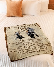 """Gift For Son - To My Son Biker Small Fleece Blanket - 30"""" x 40"""" aos-coral-fleece-blanket-30x40-lifestyle-front-01"""