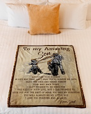 """Gift For Son - To My Son Biker Small Fleece Blanket - 30"""" x 40"""" aos-coral-fleece-blanket-30x40-lifestyle-front-04"""