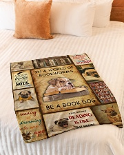 """In A World Of Bookworms Be A Book Dog Small Fleece Blanket - 30"""" x 40"""" aos-coral-fleece-blanket-30x40-lifestyle-front-01"""