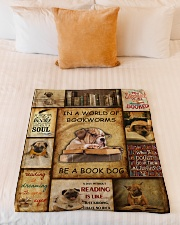 "In A World Of Bookworms Be A Book Dog Small Fleece Blanket - 30"" x 40"" aos-coral-fleece-blanket-30x40-lifestyle-front-04"