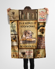 "In A World Of Bookworms Be A Book Dog Small Fleece Blanket - 30"" x 40"" aos-coral-fleece-blanket-30x40-lifestyle-front-14"