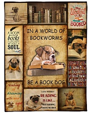 In A World Of Bookworms Be A Book Dog Fleece Blanket tile