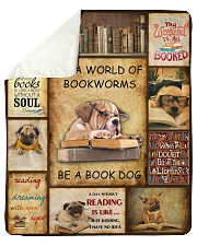 In A World Of Bookworms Be A Book Dog Sherpa Fleece Blanket tile
