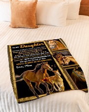 """Gift For Daughter - To My Daughter Horse Small Fleece Blanket - 30"""" x 40"""" aos-coral-fleece-blanket-30x40-lifestyle-front-01"""