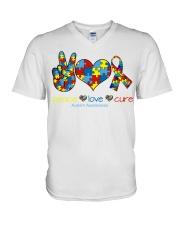 Peace love cure V-Neck T-Shirt thumbnail
