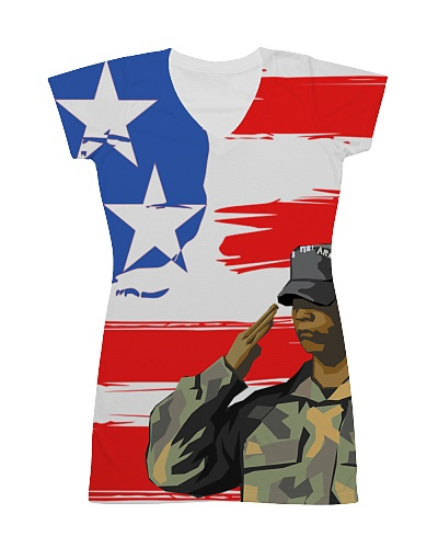 USA All Over Dress - Patriotic Dress With Soldier