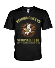 RABBIT - READING GIVES US SOMEPLACE TO GO V-Neck T-Shirt thumbnail