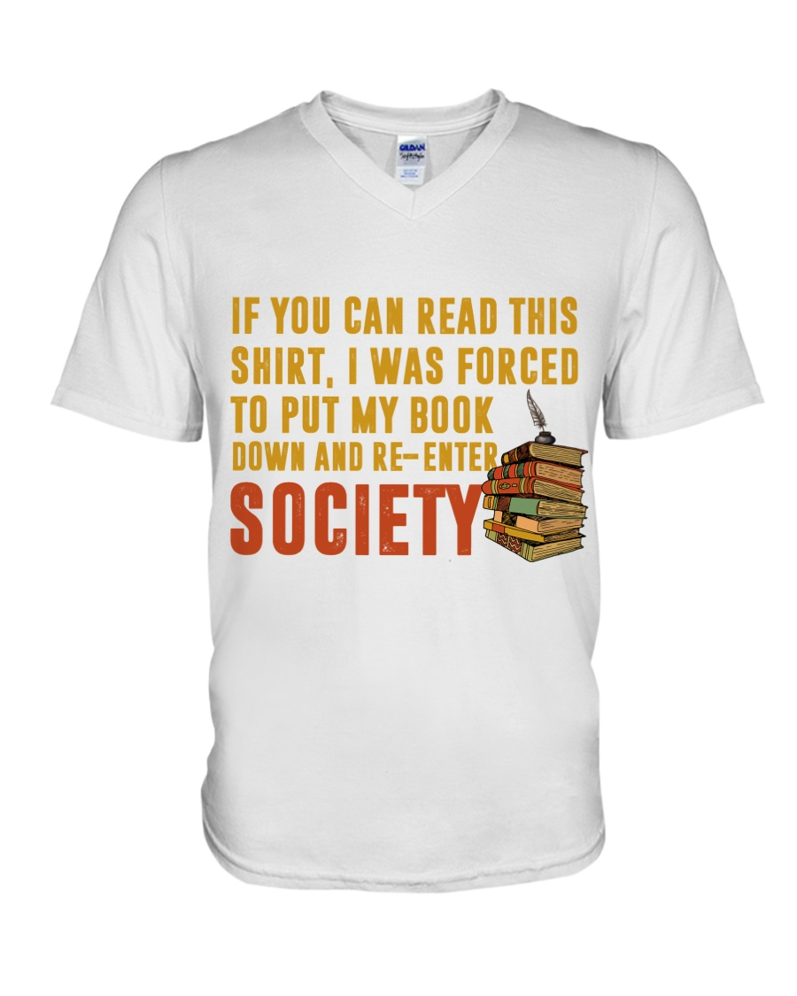 I Was Forced To Put My Book Down V-Neck T-Shirt