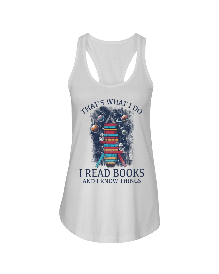 I READ BOOKS AND I KNOW THINGS V5 Ladies Flowy Tank