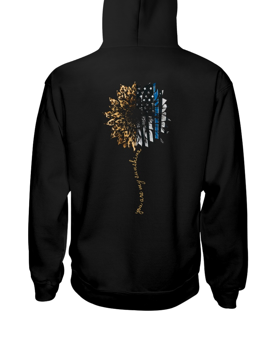 You Are My Sunshine Blue Line Leopard Hooded Sweatshirt