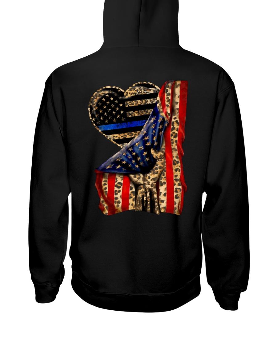 Blue Line Leopard Heart Hand Hooded Sweatshirt