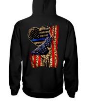 Blue Line Leopard Heart Hand Hooded Sweatshirt back