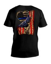 Blue Line Leopard Heart Hand V-Neck T-Shirt thumbnail