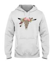 Boho Style Bull Skull in Leopard Print Hooded Sweatshirt front