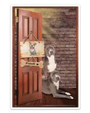 Pitbull Dogs At Door Sticker tile