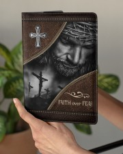 Jesus Faith Over Fear  Medium - Leather Notebook aos-medium-leather-notebook-lifestyle-front-03
