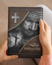 Jesus Faith Over Fear  Medium - Leather Notebook aos-medium-leather-notebook-lifestyle-front-04