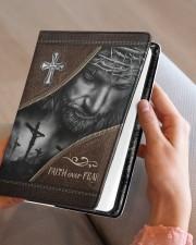Jesus Faith Over Fear  Medium - Leather Notebook aos-medium-leather-notebook-lifestyle-front-05