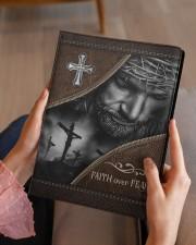 Jesus Faith Over Fear  Medium - Leather Notebook aos-medium-leather-notebook-lifestyle-front-07