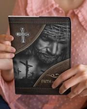 Jesus Faith Over Fear  Medium - Leather Notebook aos-medium-leather-notebook-lifestyle-front-08
