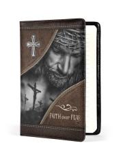 Jesus Faith Over Fear  Medium - Leather Notebook front
