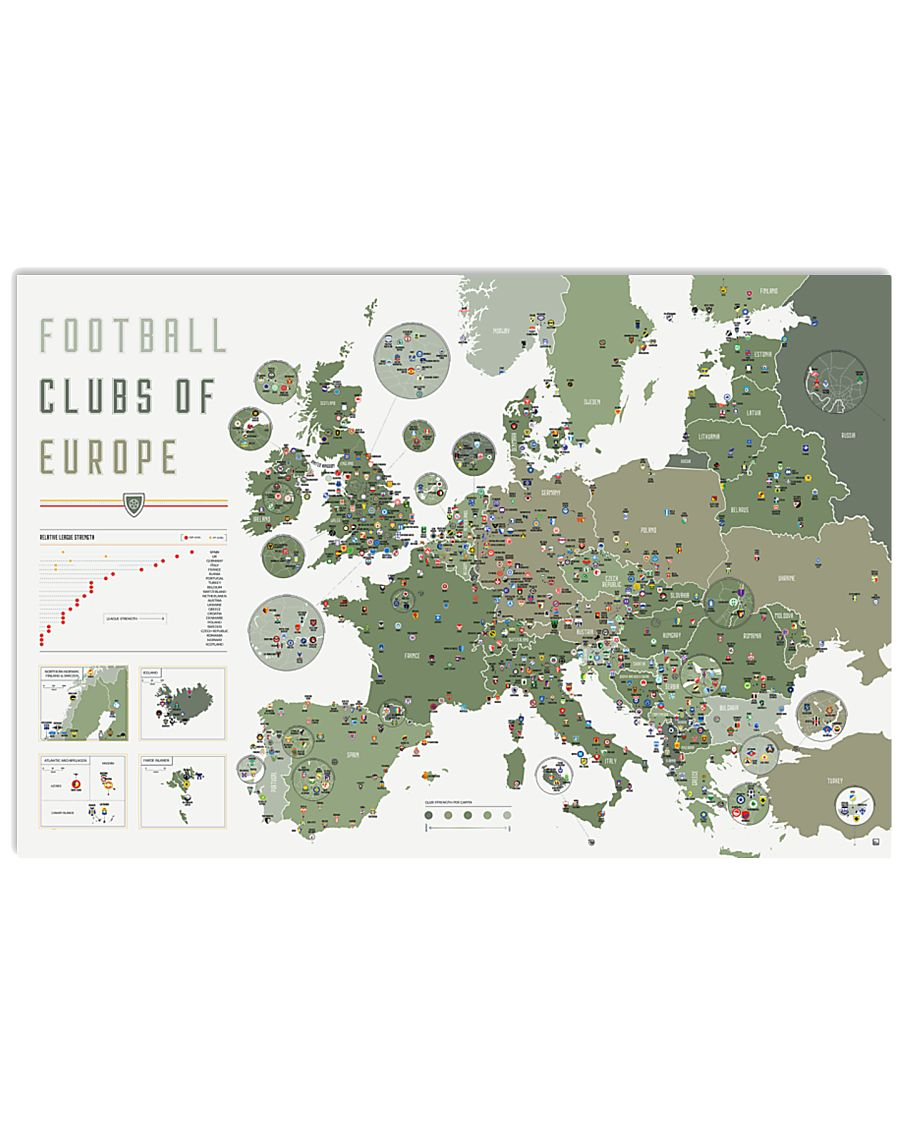 Football Clubs Of Europe 36x24 Poster