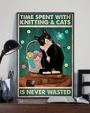 Time spent with knitting and cats is never wasted 11x17 Poster lifestyle-poster-2