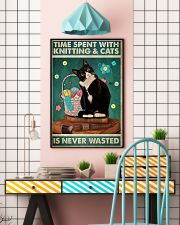 Time spent with knitting and cats is never wasted 11x17 Poster lifestyle-poster-6