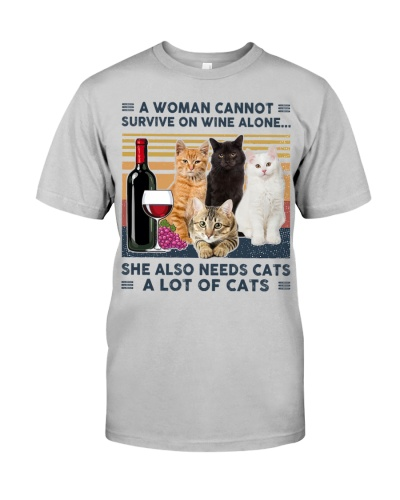 A woman survive on wine and cats