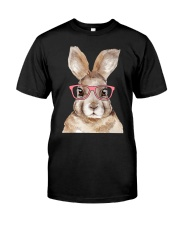 Funny Hipster Easter Bunny Rabbit Pink Classic T-Shirt front