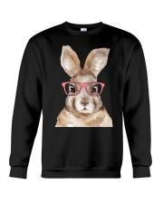 Funny Hipster Easter Bunny Rabbit Pink Crewneck Sweatshirt thumbnail