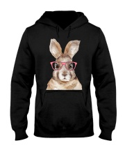 Funny Hipster Easter Bunny Rabbit Pink Hooded Sweatshirt thumbnail
