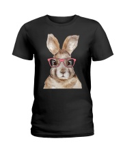 Funny Hipster Easter Bunny Rabbit Pink Ladies T-Shirt thumbnail
