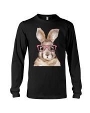 Funny Hipster Easter Bunny Rabbit Pink Long Sleeve Tee thumbnail