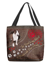 Bull-Terrier-dog-the-road-to-my-heart All-over Tote back