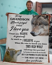 """Grandson This Old Wolf will always have your back Sherpa Fleece Blanket - 50"""" x 60"""" aos-sherpa-fleece-blanket-50x60-lifestyle-front-05"""